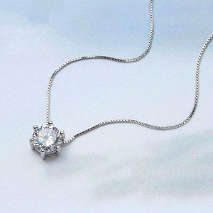 New 2ct Solitaire Diamond Sterling Silver Necklace